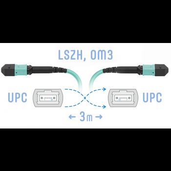 Патчкорд оптический MPO/UPC FF MM, 12 волокон, 3 метра (Cross)