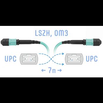 Патчкорд оптический MPO/UPC FF MM, 12 волокон, 7 метров (Cross)