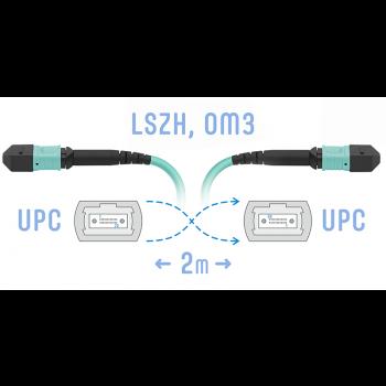 Патчкорд оптический MPO/UPC FF MM, 24 волокна, 2 метра (Cross)