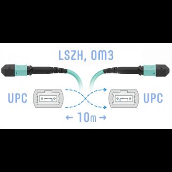 Патчкорд оптический MPO/UPC FF MM, 10 метров (Cross)
