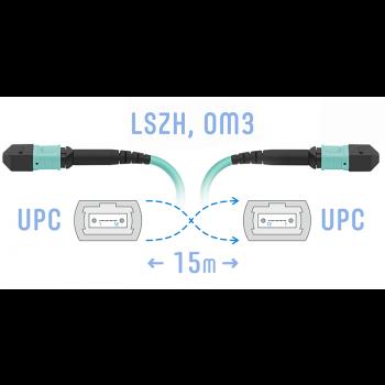 Патчкорд оптический MPO/UPC FF MM, 15 метров (Cross)
