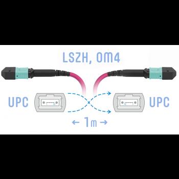 Патчкорд оптический MPO/UPC FF MM (50/125 OM4), 12 волокон, 1 метра (Cross)