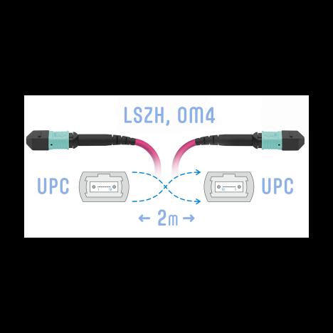 Патчкорд оптический MPO/UPC FF MM (50/125 OM4), 12 волокон, 2 метра (Cross)