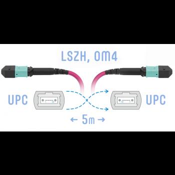 Патчкорд оптический MPO/UPC FF MM (50/125 OM4), 8 волокон, 5 метра (Cross)