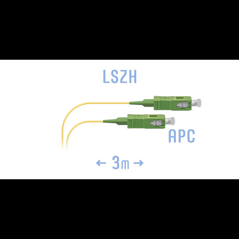 Шнур монтажный оптический SC/APC-A SM 3м, сверхгибкое волокно