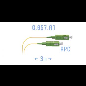 Шнур монтажный оптический SC/APC SM G.657.A1 3 метра
