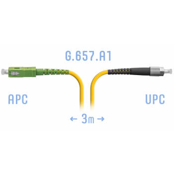 Патчкорд оптический SC/APC-FC/UPC SM G.657.A1 3 метра