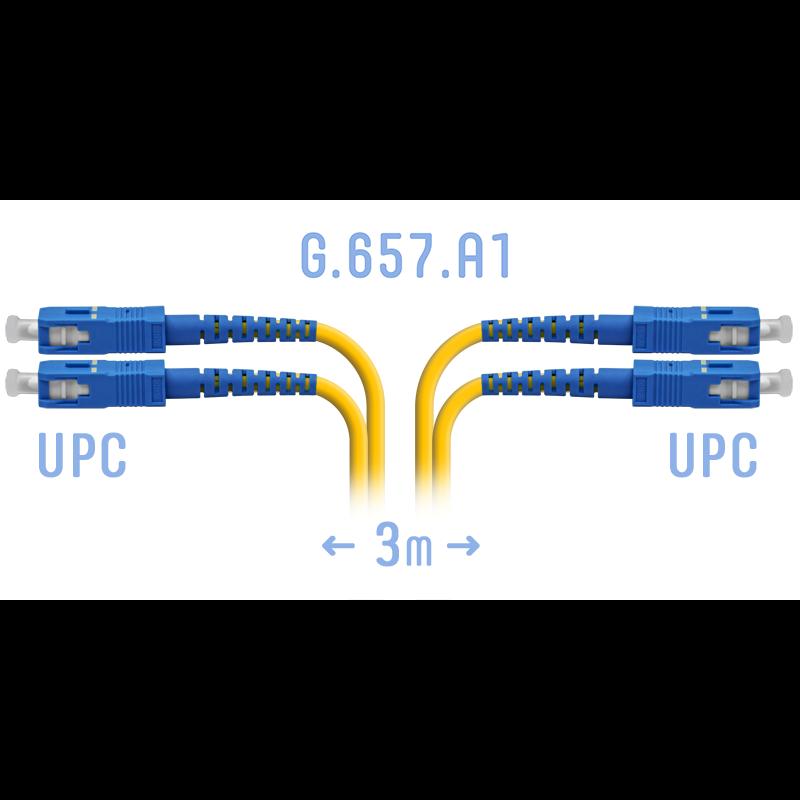 Патчкорд оптический SC/UPC SM G.657.A1 Duplex 3 метра
