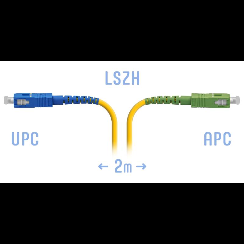 Патчкорд оптический SC/UPC-SC/APC SM 2 метра, 3мм