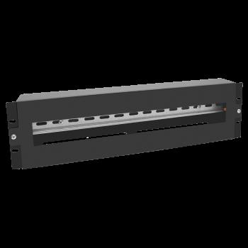 """Панель 19"""" с DIN-рейкой 3U (черный)"""