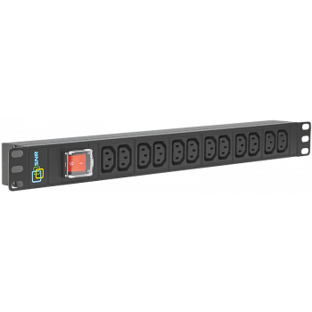 Блок электрических розеток на 12 гнезд IEC320 C13, без шнура питания с вилкой C14