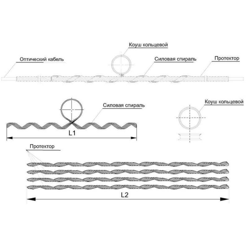 Зажим (подвес) поддерживающий промежуточный (диаметр 11,8-12,1мм; до 110м, с протектором)