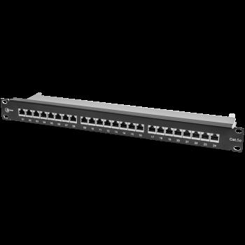 """Коммутационная панель SNR, 19"""" экранированная, 1U, 24 порта, cat.5e, горизонтальная заделка"""