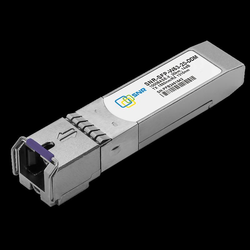 Модуль SFP 1.25G WDM, дальность до 20км (14dB), 1550нм, с функцией DDM