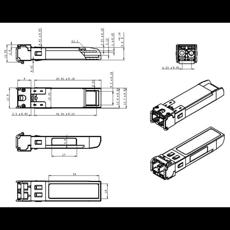 Модуль SFP 2.5G CWDM оптический, дальность до 120км  (34dB), 1450нм