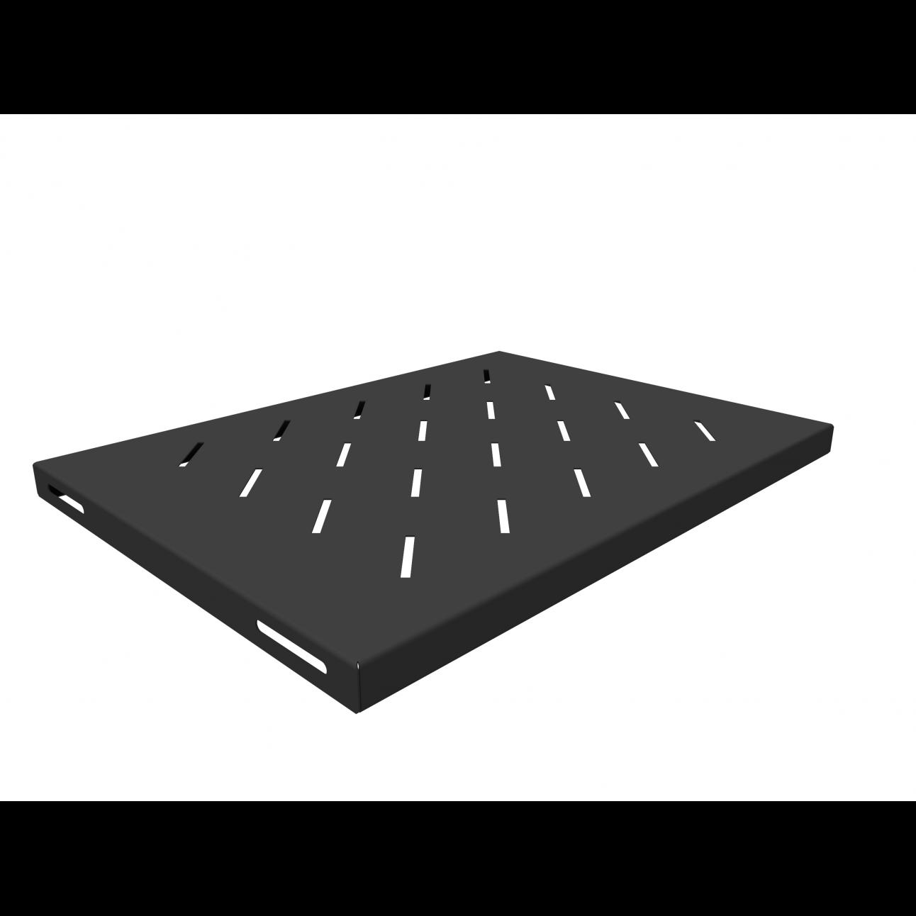Полка стационарная для шкафов глубиной 600мм, (глубина полки 350мм) распределенная нагрузка 20кг, цвет-черный (SNR-SHELF-06035-20B)