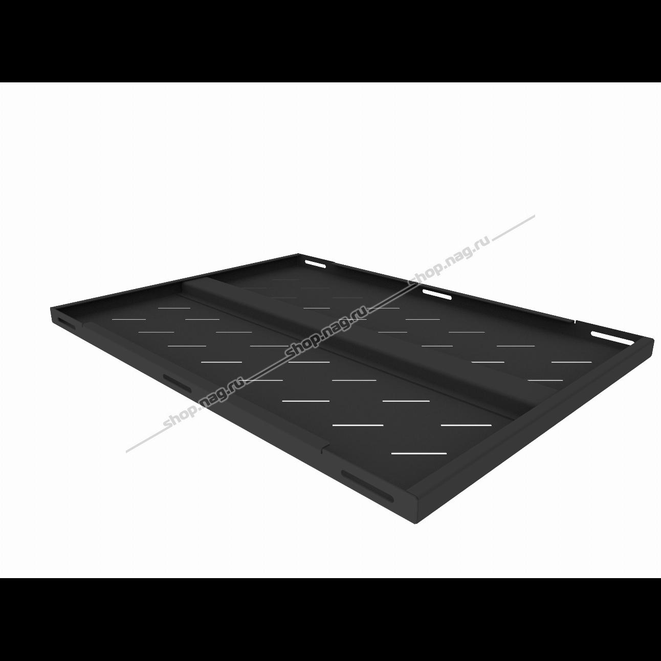 Полка стационарная усиленная для шкафов глубиной 900мм, (глубина полки 650мм) распределенная нагрузка 120кг, цвет-черный (SNR-SHELF-09065-120B)
