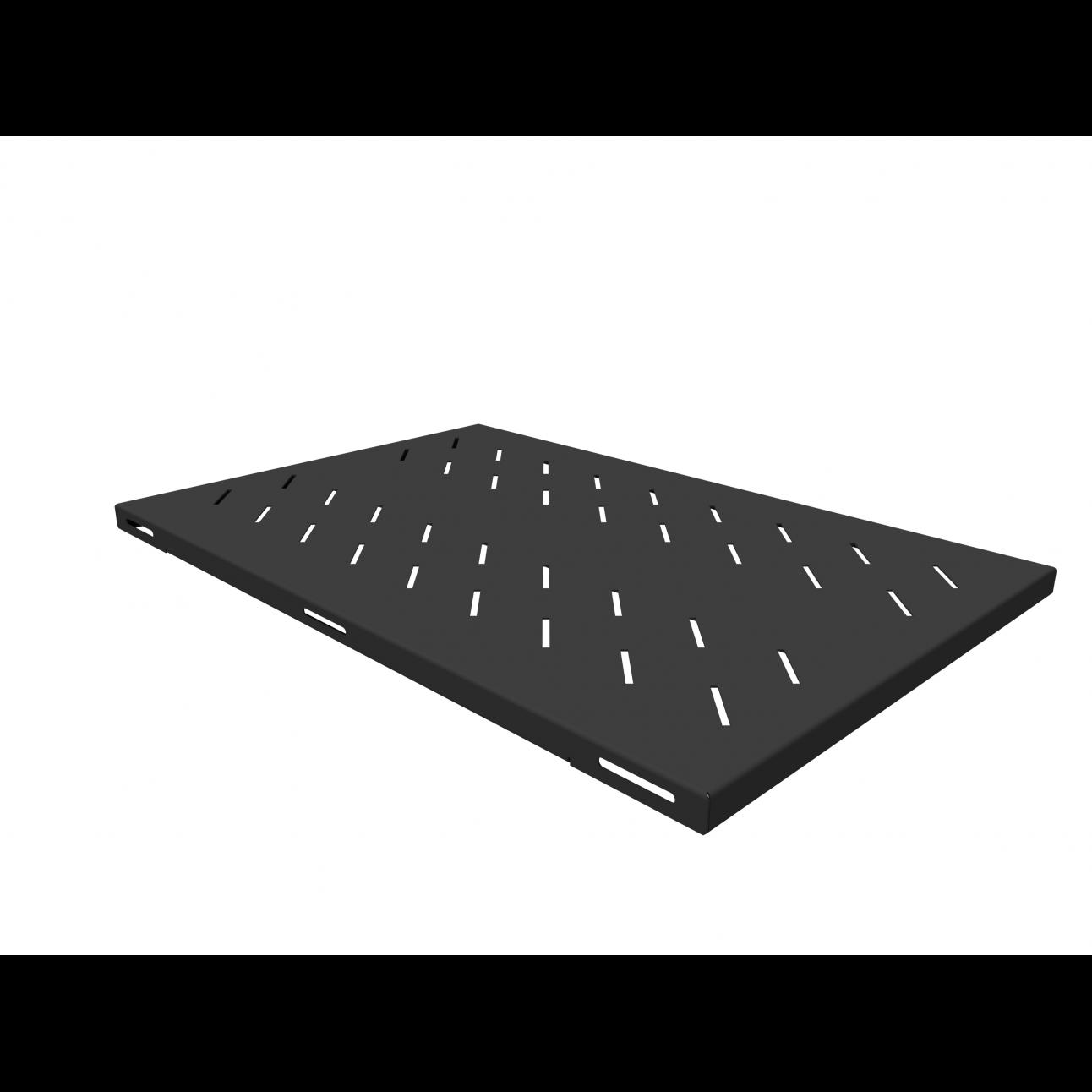 Полка стационарная усиленная для шкафов глубиной 1000мм, (глубина полки 710мм) распределенная нагрузка 120кг, цвет-черный, вмятина и царапина на полке