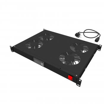 """Модуль вентиляторный 19"""" 1U, 4 вентилятора, регулируемая глубина 345-810 мм с контроллером температуры"""
