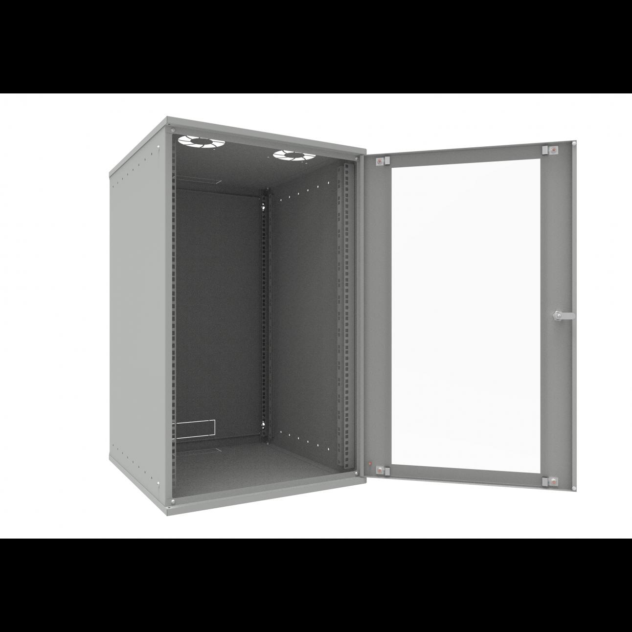 Шкаф телекоммуникационный настенный 18U, 523х600х866мм серия LITE (стеклянная дверь)