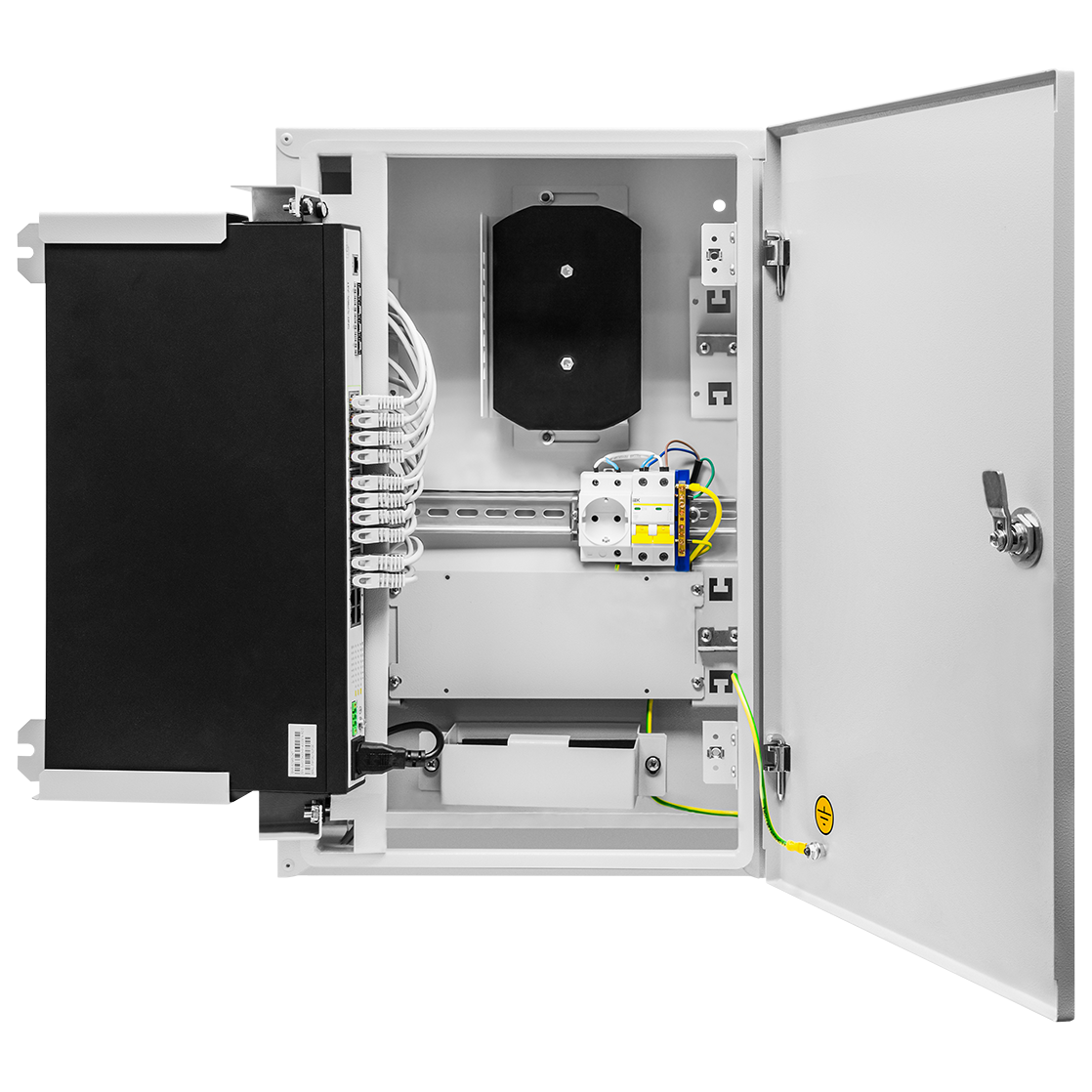 Шкаф телекоммуникационный для узла доступа 600х400x200мм, серия RT с блоком питания (SNR-TWC-604020-RTU-IP30) (после теста)