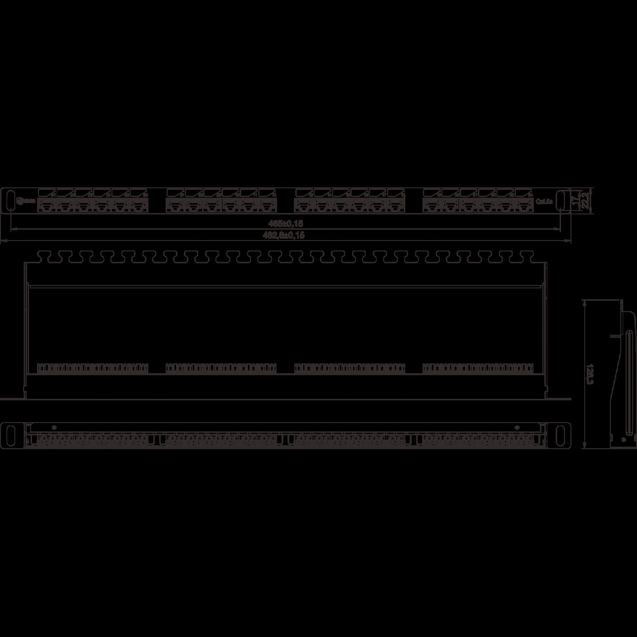 """Коммутационная панель SNR, 19"""" неэкранированная, 0.5U, 24 порта, cat.5e, горизонтальная заделка"""