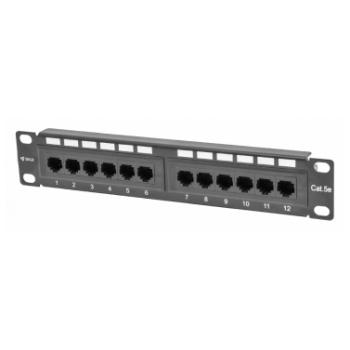 """Коммутационная панель SNR, 10"""" неэкранированная, 1U, 12 портов, cat.5e, горизонтальная заделка"""