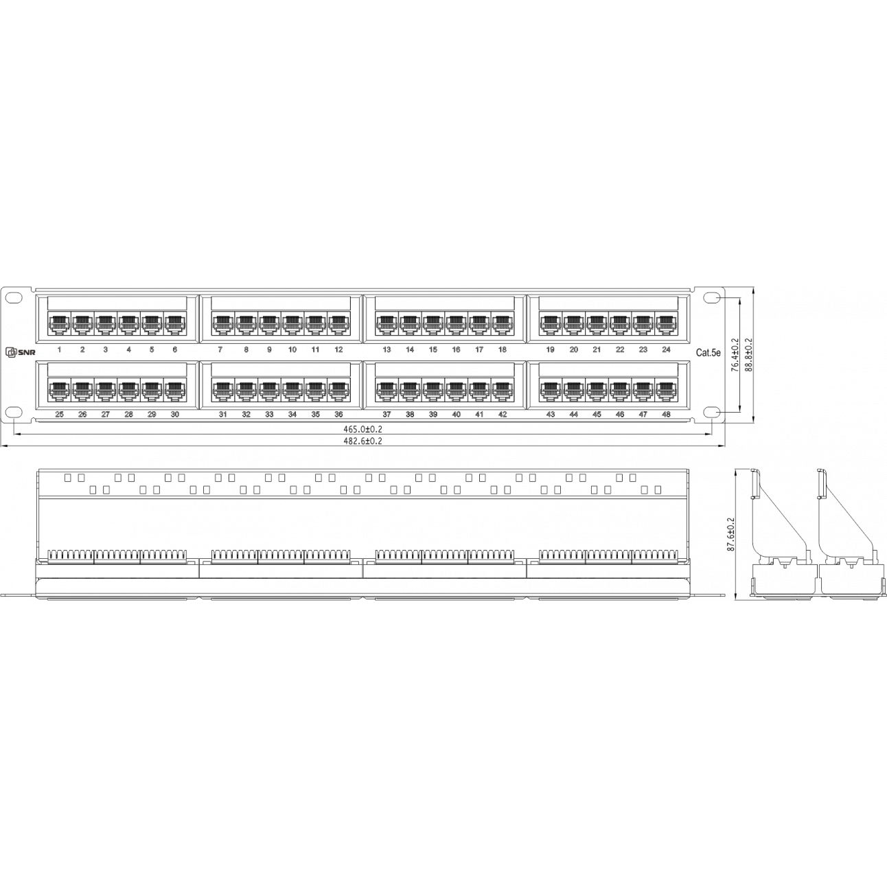"""Коммутационная панель SNR, 19"""" неэкранированная, 2U, 48 портов, cat.5e, горизонтальная заделка"""