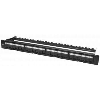 """Коммутационная панель SNR, 19"""" для модулей KeyStone, незагруженная, неэкранированная, 1U, 24 порта, cat.5e, разборная, порты без шторок"""