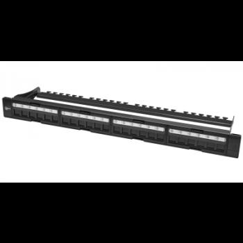 """Коммутационная панель SNR, 19"""" для модулей KeyStone, незагруженная, неэкранированная, 1U, 24 порта, cat.5e, разборная, порты со шторками"""
