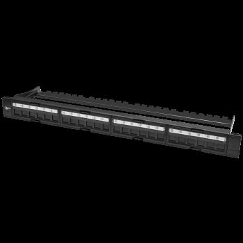 """Коммутационная панель SNR, 19"""" для модулей KeyStone, незагруженная, неэкранированная, 1U, 24 порта, разборная, порты без шторок (Упаковка в скотче)"""