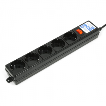 Фильтр-удл. PC 0,5м 5р, черный графит 10А/2,2кВт