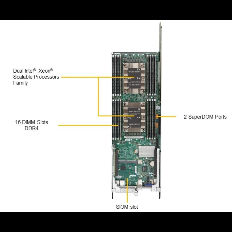 "Платформа Supermicro 1U SYS-1029TP-DTR, до 4 процессоров Intel Xeon Scalable, DDR4, 8x2.5"" HDD, 4x10GBase-T"