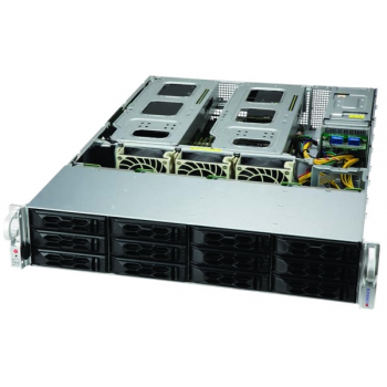 "Платформа Supermicro 2U SYS-6129P-ACR12N4G, Два процессора Intel Xeon Scalable, DDR4, 12x3.5"" SATA HDD, 2x 25Gb SFP28, до двух графических ускорителей"