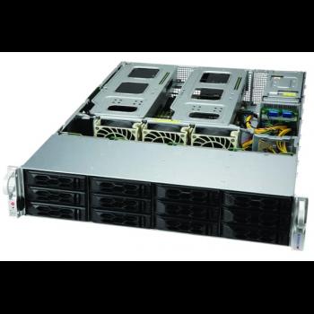 "Платформа Supermicro 2U SYS-6129P-ACR12N4G, Два процессора Intel Xeon Scalable, DDR4, 12x3.5"" SATA HDD, 2x 25Gb SFP28, до двух графических ускорителей"