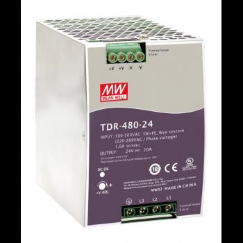 TDR-480-24 Блок питания на DIN-рейку, 24В, 20А, 480Вт Mean Well