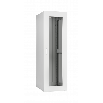 """Напольный шкаф серии Lite 19"""", 24U, стеклянная дверь, Ш600хВ1167хГ600мм, в разобранном виде, серый"""
