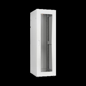 """Напольный шкаф серии Lite 19"""", 42U, стеклянная дверь, Ш600хВ1967хГ600мм, в разобранном виде, серый"""