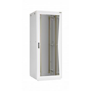 """Напольный шкаф 19"""", 42U, стеклянная дверь, Ш600хВ2065хГ800мм, в разобранном виде, серый"""