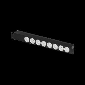 """Блок электрических розеток TLK, 19"""", 8 гнезд """"евророзетка"""", макс. нагрузка 10 А, без шнура питания, вход С14, с фильтром, без выключателя"""