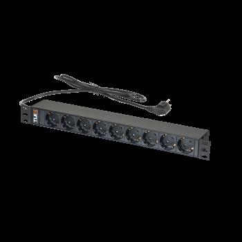 "Блок электрических розеток TLK 19"" 9 гнезд евророзетка, макс. нагрузка 16 А, шнур питания 1,8 метра, евровилка"