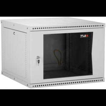 """Настенный разборный шкаф TLK 19"""", 6U, стеклянная дверь, Ш600хВ303хГ350мм, 1 пара монтажных направляющих, серый"""