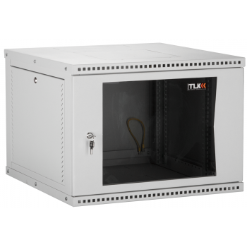 """Настенный разборный шкаф TLK 19"""", 9U, стеклянная дверь, Ш600хВ436хГ450мм, 1 пара монтажных направляющих, серый"""