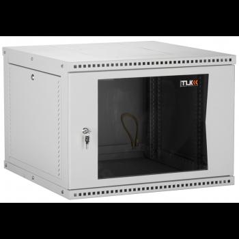 """Настенный разборный шкаф TLK 19"""", 9U, стеклянная дверь, Ш600хВ436хГ600мм, 2 пары монтажных направляющих, серый"""