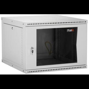 """Настенный разборный шкаф TLK 19"""", 12U, стеклянная дверь, Ш600хВ569хГ450мм, 1 пара монтажных направляющих, серый"""