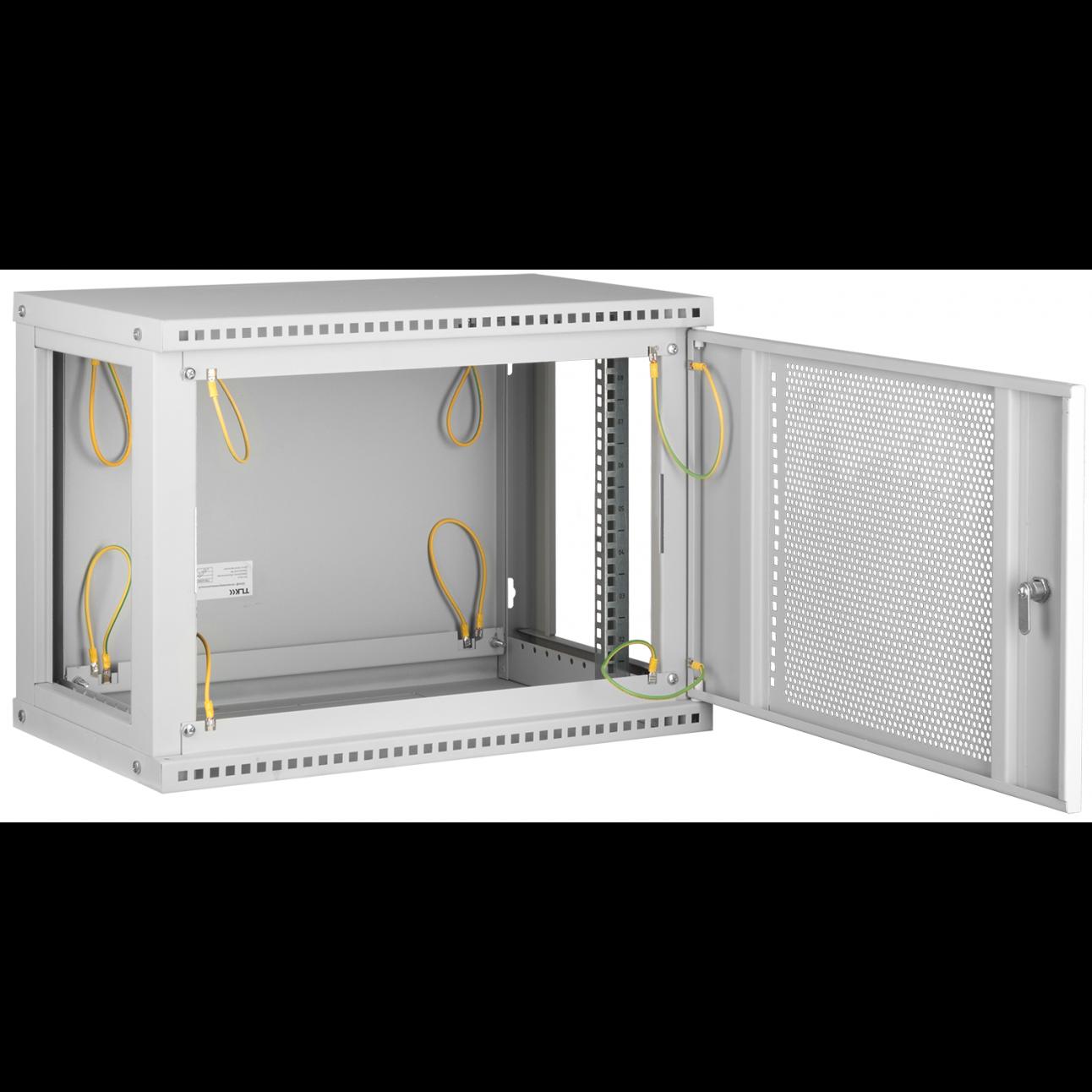 """Настенный разборный шкаф TLK 19"""", 12U, перфорированная дверь, Ш600хВ569хГ600мм, 2 пары монтажных направляющих, серый"""