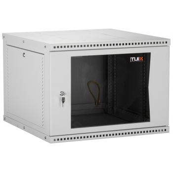 """Настенный разборный шкаф TLK 19"""", 15U, стеклянная дверь, Ш600хВ703хГ600мм, 2 пары монтажных направляющих, серый"""