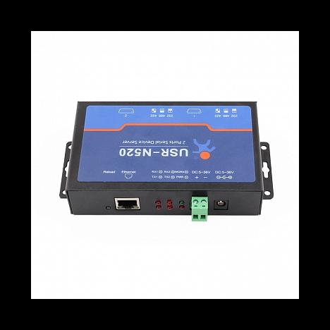 2-портовый конвертер интерфейсов RS232/RS422/RS485 в Ethernet TCP/IP, металл корпус