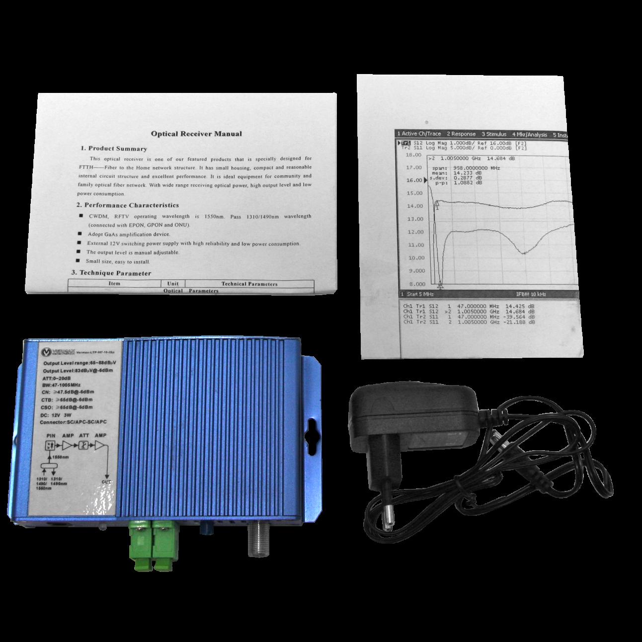Приёмник оптический для сетей КТВ Vermax-LTP-087-10-ISp