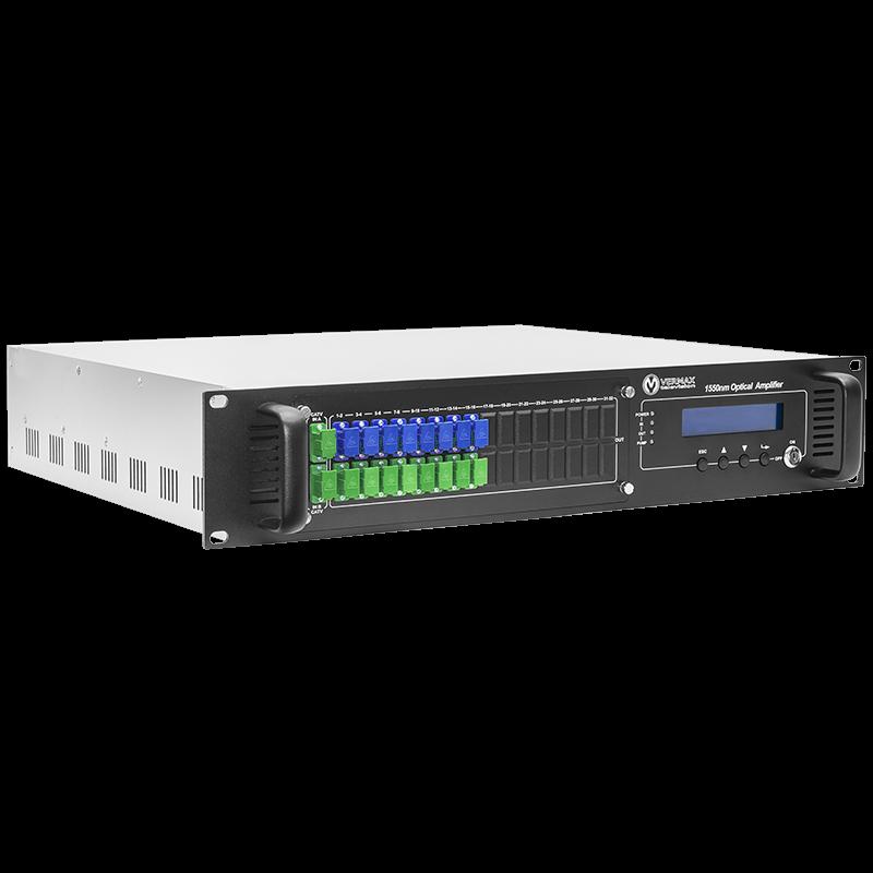 Оптический усилитель VERMAX для сетей КТВ, 2 входа, 16*20dBm выхода, WDM фильтр PON